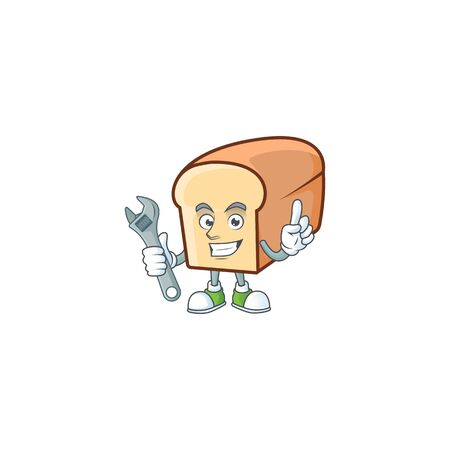 Cute bread isolated of cartoon character mechanic.