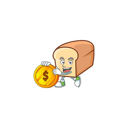 Cute bread isolated of cartoon character bring coin.  イラスト・ベクター素材