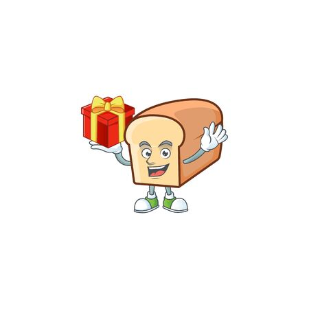 Cute bread isolated of cartoon character bring gift. Foto de archivo - 134873525