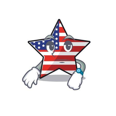 Cute usa star waiting cartoon design character Illusztráció