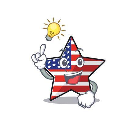 Cute usa star have an idea cartoon design character