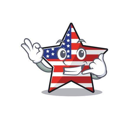 Cute usa star call me cartoon design character