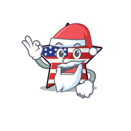 Cute usa star santa claus cartoon design character