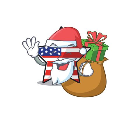 Cute usa star santa bring gift cartoon design character Illusztráció