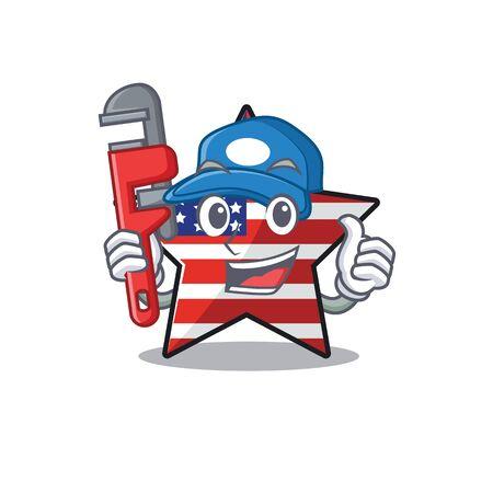 Cute usa star plumber cartoon design character