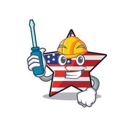 Cute usa star automotive cartoon design character
