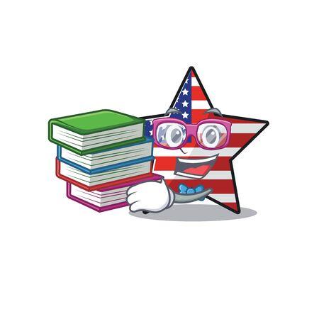 Cute usa star student bring book cartoon design character