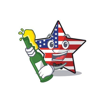 Cute usa star bring beer cartoon design character