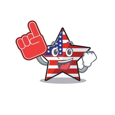 Cute usa star foam finger cartoon design character Illusztráció