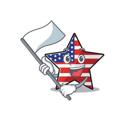 Cute usa star bring flag cartoon design character