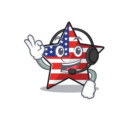 Cute usa star with headphone cartoon design character