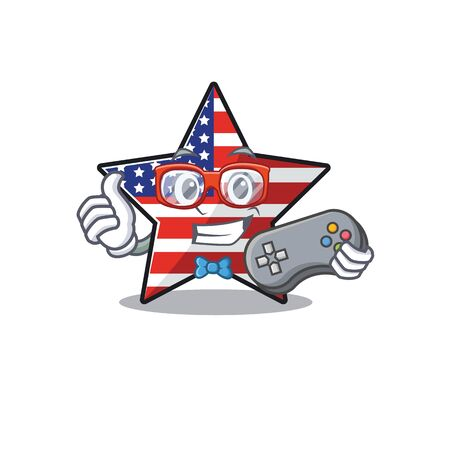 Confident happy usa star character holding gamer mascot Illusztráció