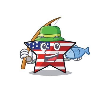 Confident happy usa star character fishing mascot