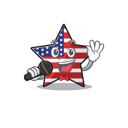 Confident happy usa star character singing mascot Illusztráció