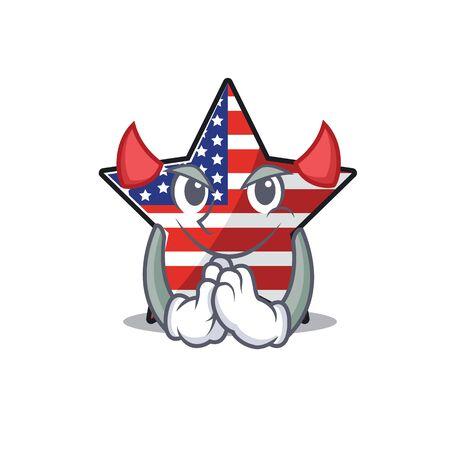 Confident happy usa star character devil mascot
