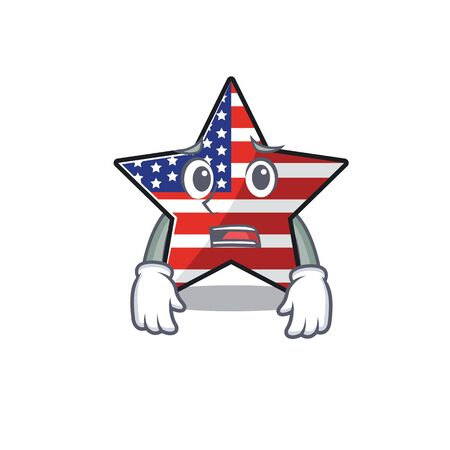 Confident happy usa star character afraid mascot
