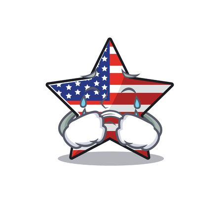 Confident happy usa star character crying mascot