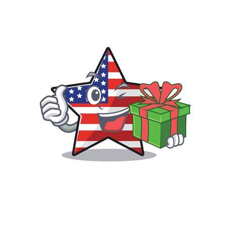 Confident happy usa star character holding gift mascot Illusztráció