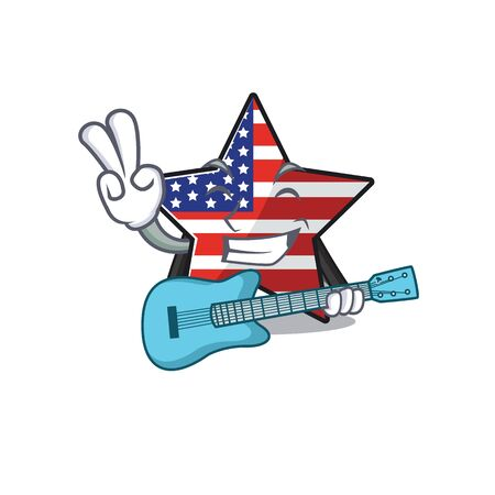 Confident happy usa star character with guitar mascot