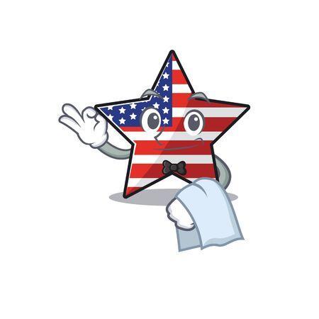 Confident happy usa star character waiter mascot Ilustração