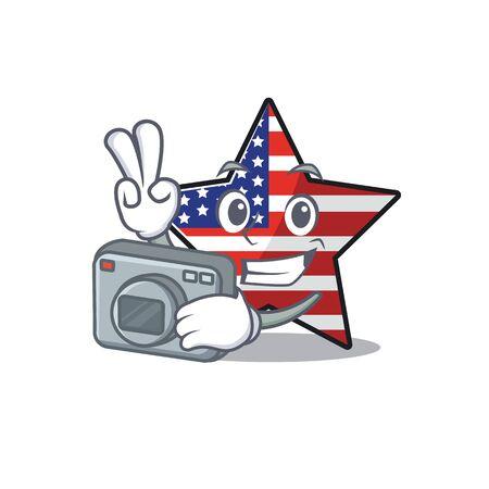 Confident happy usa star character photographer mascot