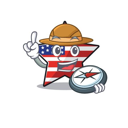 Confident happy usa star character holding compass mascot Illusztráció