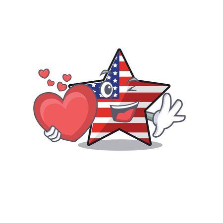 Confident happy usa star character holding heart mascot Illusztráció