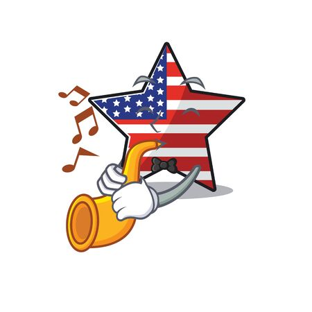 Confident happy usa star character with trumpet mascot