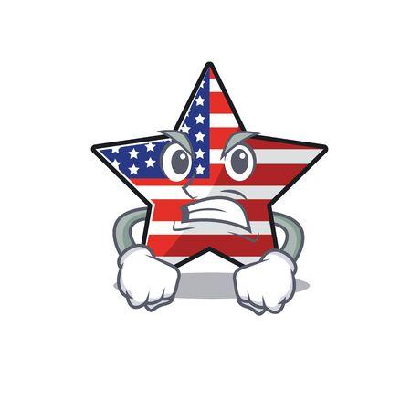 Confident happy usa star character angry mascot Illusztráció