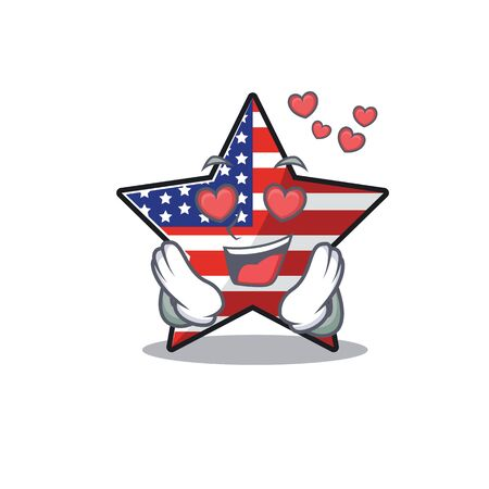Confident happy usa star character in love mascot