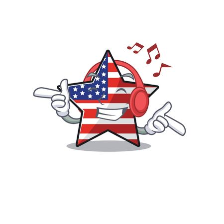 Confident happy usa star character listening music mascot