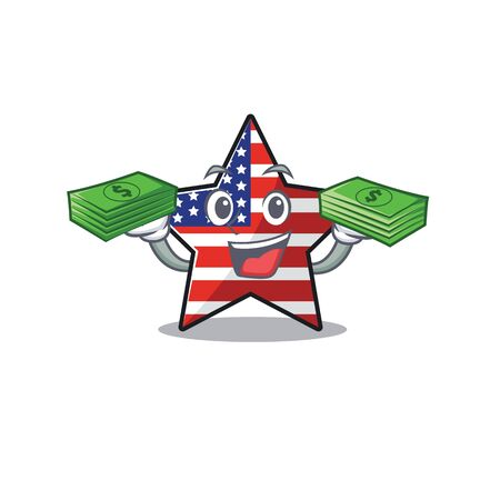 Confident happy usa star character holding money mascot