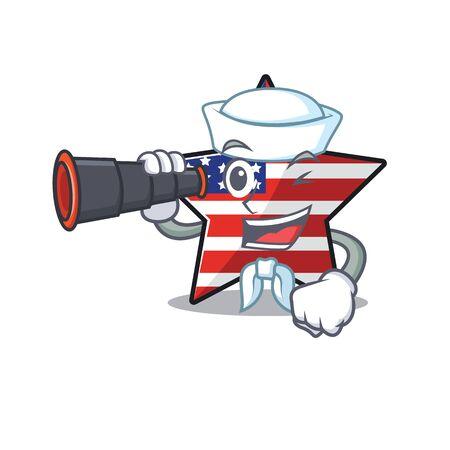 Confident happy usa star character sailor holding binocular mascot Illusztráció