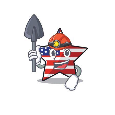 Confident happy usa star character miner mascot