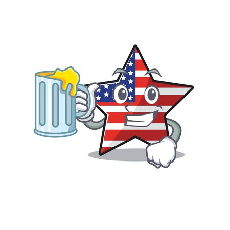 Confident happy usa star character holding juice mascot
