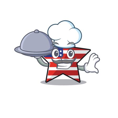 Confident happy usa star character chef holding food mascot Illusztráció