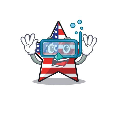 usa star cartoon diving above character table