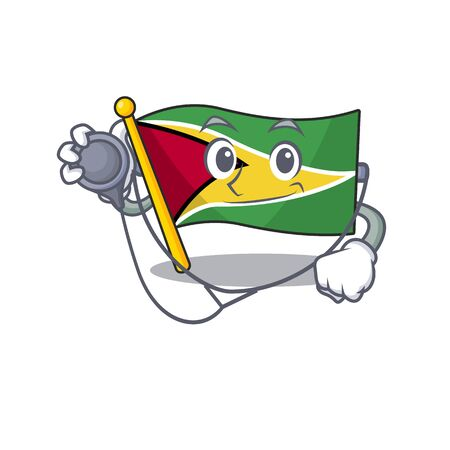 flag guyana isolated in the cartoon doctor vector illustration