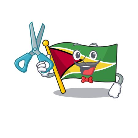flag guyana isolated in the cartoon barber vector illustration Ilustrace