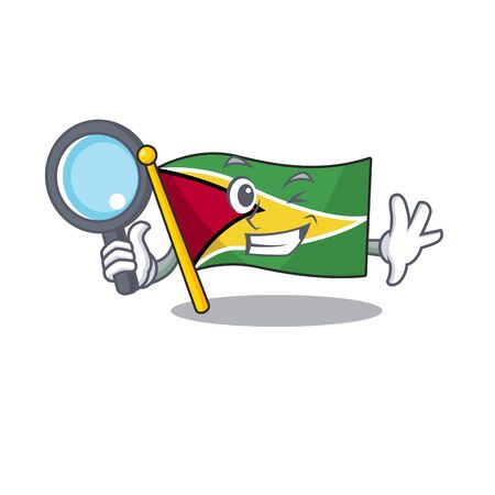 Flag guyana detective flown on mascot pole vecor illustration