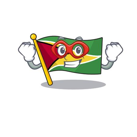 Flag guyana super hero flown on mascot pole vecor illustration