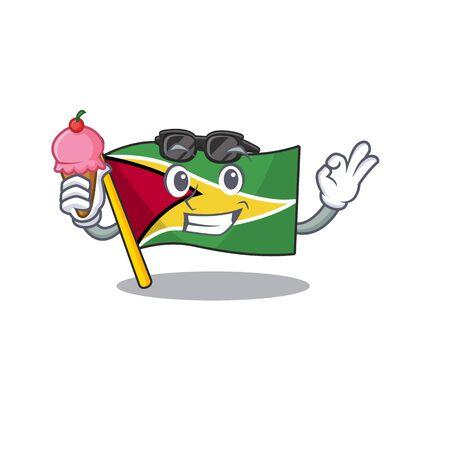 Drapeau guyane avec de la crème glacée volée sur l'illustration de vecor de pôle de mascotte