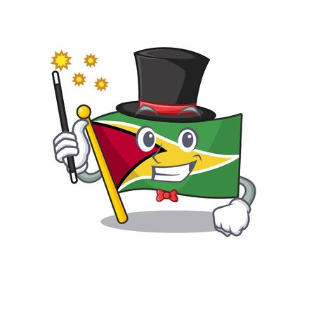 Confident flag guyana magician cartoon character style