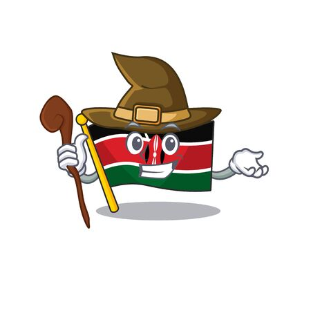 Flag kenya mascot in shape character witch Ilustracja