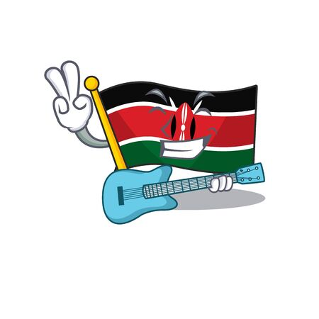 Flag kenya mascot in shape character with guitar