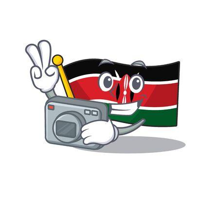 Flag kenya mascot in shape character photographer Ilustração