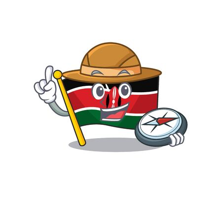 Flag kenya mascot in shape character holding compass Ilustracja
