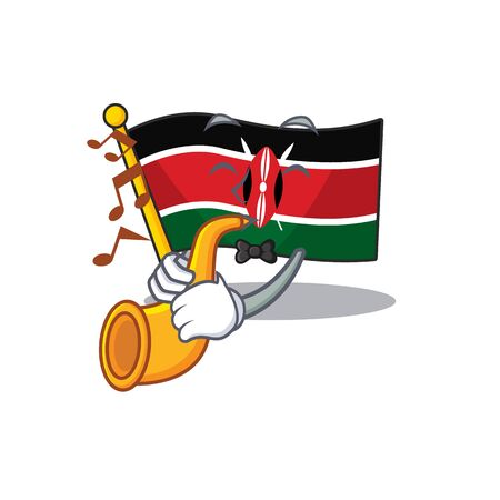 Flag kenya mascot in shape character with trumpet Ilustracja