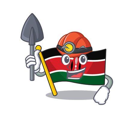 Flag kenya mascot in shape character miner
