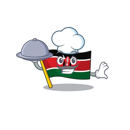 Flag kenya mascot in shape character chef holding food